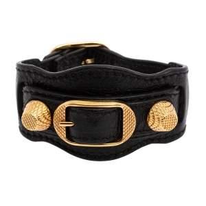 Balenciaga Black Leather Arena Giant Studded Gold Tone Bracelet