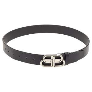 Balenciaga Black Leather BB Buckle Belt 85cm