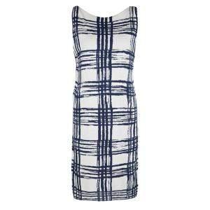 Balenciaga Knits Navy Blue and White Abstract Checked Silk Dress S