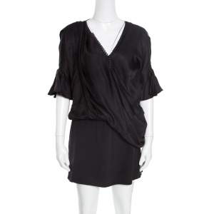 Balenciaga Black Silk Animal Scale Pattern Side Draped Dress L