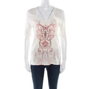 Balenciaga T'S Cream Linen Baroque Motif Printed Short Sleeve T-Shirt