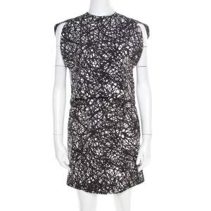 Balenciaga Monochrome Scribbled Noise Print Drop Waist Belted Dress S