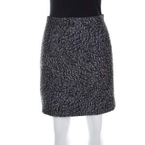 Balenciaga Grey Floral Embossed Jacquard Mini Skirt M