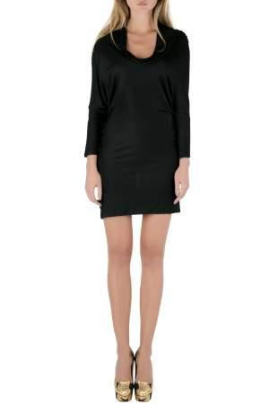 Balenciaga Black Stretch Knit Cowl Neck Fitted Mini Dress M