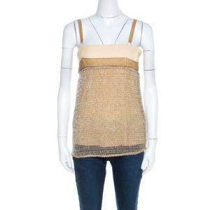 Balenciaga Ochre Yellow Embroidered Cotton Inlay Textured Camisole S