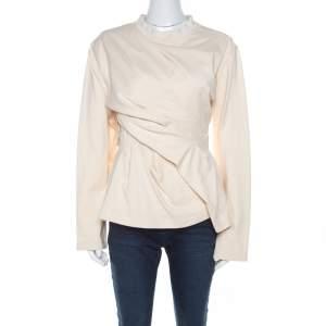 Balenciaga Cream Cotton Wrinkled Detail Sweatshirt M
