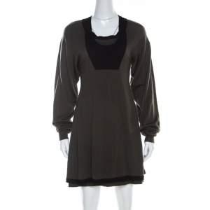Balenciaga Khaki Green Wool Cut-Out Detail Short Dress S
