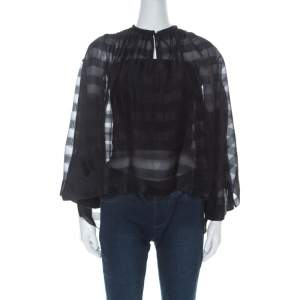 Balenciaga Black Striped Chiffon High-Low Three Quarter Sleeve Blouse S