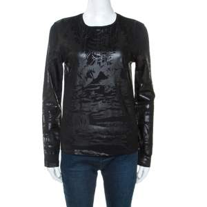 Balenciaga Black Embossed Cotton Long Sleeve Top S