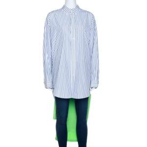 Balenciaga Bicolor Striped Cotton T-Shirt Detail Oversized Shirt S