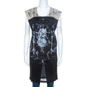Balenciaga T's Black & Beige Baroque Brasso Printed Tunic Top M