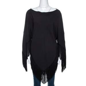 Balenciaga Black Crepe Fringed Poncho L