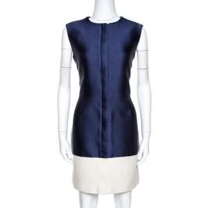 Balenciaga Bicolor Silk and Canvas Sleeveless Dress L