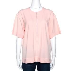 Balenciaga Peach Stretch Crepe Short Sleeve Top L