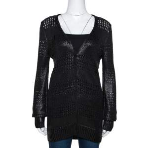 Balenciaga Black Metallic Coated Eyelet Knit Cardigan S