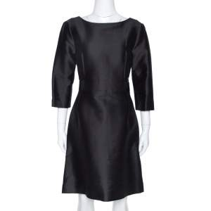 فستان بالنسياغا ثلاث أرباع أكمام حزام مزيج حرير وقطن أسود S