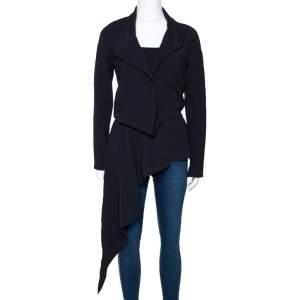 Balenciaga Black Stretch Asymmetric Tailored Jacket S