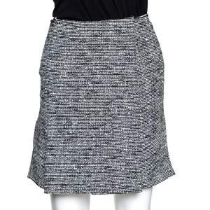 Balenciaga Monochrome Tweed Gomme Mini Skirt S