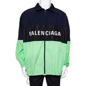 Balenciaga Color Block Logo Oversized Zip Up Jacket S