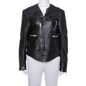 Balenciaga Black Leather Quilted Detail Biker Jacket L