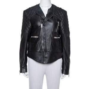 جاكيت بايكر بالنسياغا مزين مبطن جلد أسود مقاس كبير (لارج)