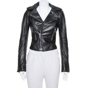 Balenciaga Black Leather Zipper Front Biker Jacket S