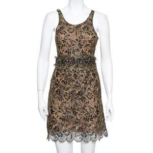 Balenciaga Black & Gold Lace Sleeveless Mini Dress S