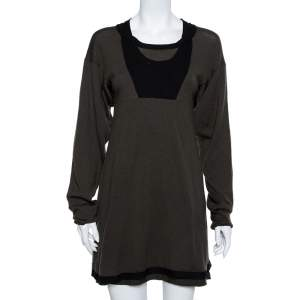 Balenciaga Knits Khaki & Black Wool Mini Dress S