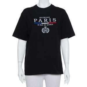 تي شيرت بالنسياغا مطرز علم باريس رقبة مستديرة قطن أسود مقاس صغير (سمول)