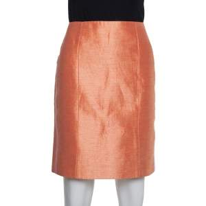 Balenciaga Orange Silk & Linen Contrast Trim Detail Mini Skirt M