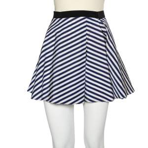 Balenciaga Navy Blue & White Striped Synthetic Shorts M