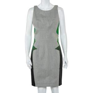 Balenciaga Grey Denim Contrast Printed Sleeveless Sheath Dress M