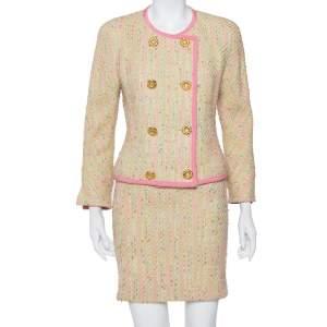 طقم تنورة قصيرة و جاكيت بليزر بالنسياغا صدرية مزدوجة تويد متعدد الألوان مقاس صغير (سمول)