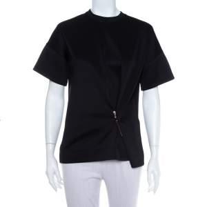 Balenciaga Black Neoprene Pin Detail Asymmetric Draped Top M