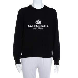 Balenciaga Black Logo Embroidered Wool Sweatshirt M