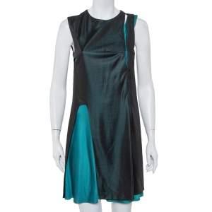 Balenciaga Black & Teal Green Knit Paneled Sleeveless Shift Dress L