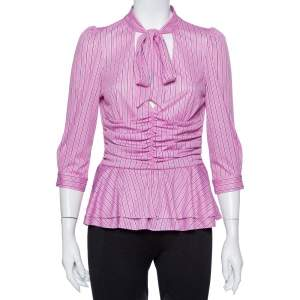 Balenciaga Striped Pink Knit Ruched Waist Neck Tie Detail Top M