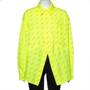 Balenciaga Neon Yellow Logo Printed Button Front Oversized Shirt S