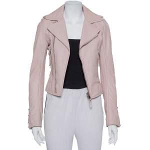 Balenciaga Pink Leather Zip Front Biker Jacket S