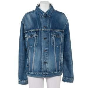 Balenciaga Blue Denim Distressed Collar Detail Oversized Jacket S