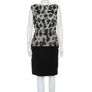 Balenciaga Black Patterned Wool & Knit Paneled Sleeveless Dress M