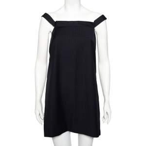Balenciaga Navy Blue Striped Wool Off Shoulder Shift Dress M