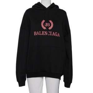 Balenciaga Black Logo Printed Cotton Hoodie M