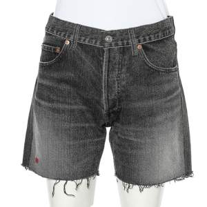 Balenciaga Charcoal Grey Denim Raw Edge Detail Shorts M