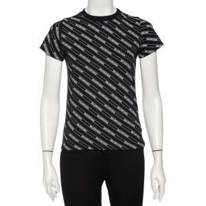Balenciaga Black Cotton Diagonal Monogram Crewneck T-shirt XS