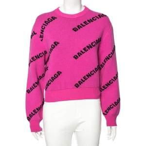 Balenciaga Pink Allover Logo Wool Crew Neck Sweater S