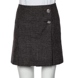 Balenciaga Black Patterned Wool Button Detail Mini Skirt M