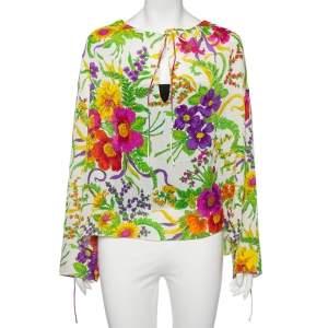 Balenciaga White Floral Print Lurex Silk Slide Blouse L