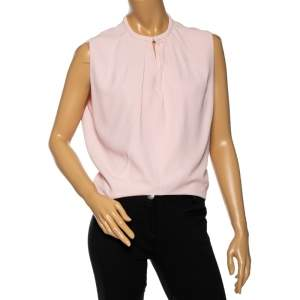 Balenciaga Light Pink Crepe Pleated Neck Detail Oversized Blouse S
