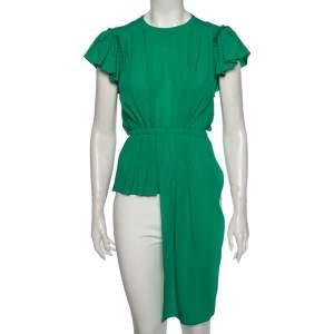 Balenciaga Green Silk Pleated Asymmetrical Blouse S
